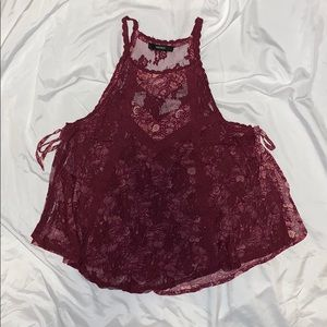 Maroon Lacey Tank